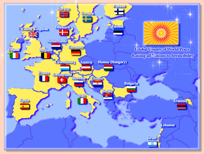 Map of Europe showing 24 countries rising to invinciblity