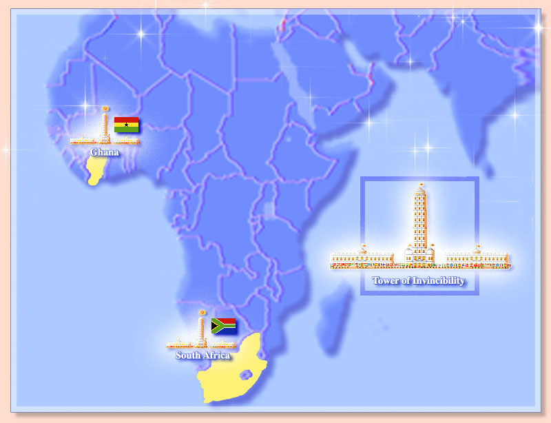Map of Africa showing Towers of Invincibility and the flags of the invincible nations