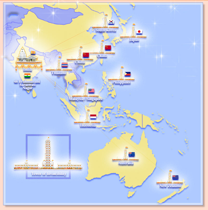 Map of Asia and Oceania showing towers of invincibility and flags of the invincible nations
