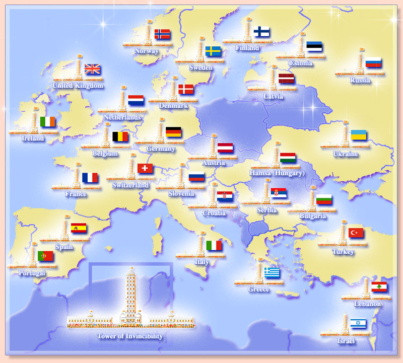 Map of Europe showing Towers of Invincibility and flags of the invincible nations