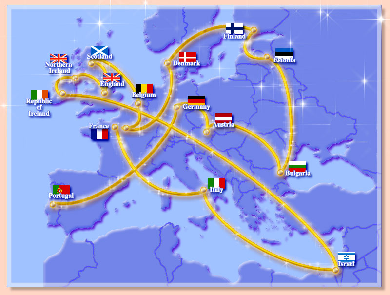Map of Europe showing the path of the Golden Tour