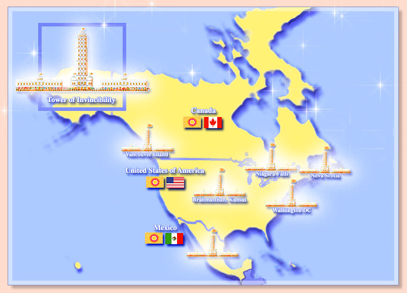 Map of North America showing towers of invinciblity and the flags of the invincible nations