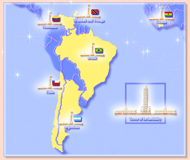 Map of South America showing towers of invincibility and flags of the invincible nations